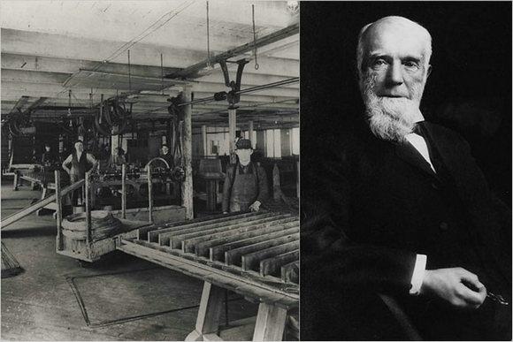 左,早期的席梦思床上用品公司   右,创始人扎尔蒙·席梦思