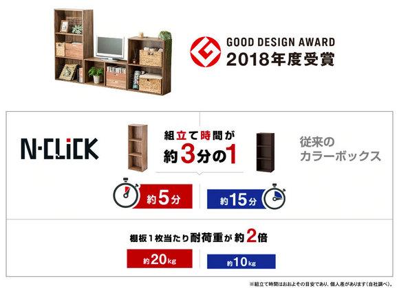 """""""N-Click""""家具系列组装时间、承重能力示意图。图片来自宜得利日本网上商城"""