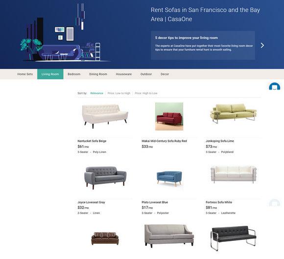 CasaOne提供租赁的沙发